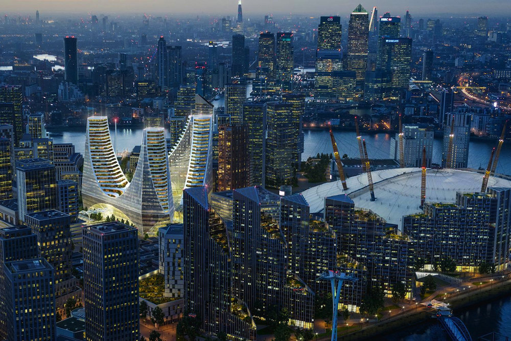 Santiago Calatrava's design for Greenwich Peninsula's proposed  Peninsula Place  project