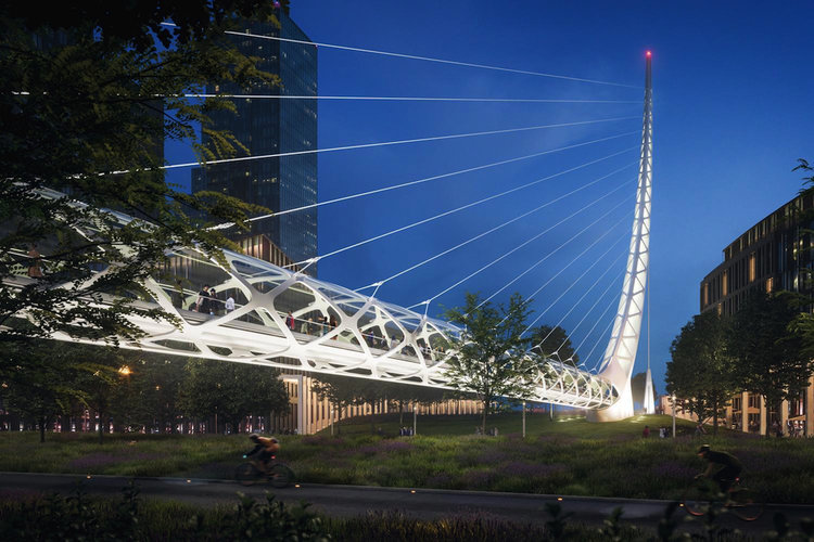 "A Calatrava-designed footbridge replaces earlier plans for a ""green bridge"" spanning three busy roads"