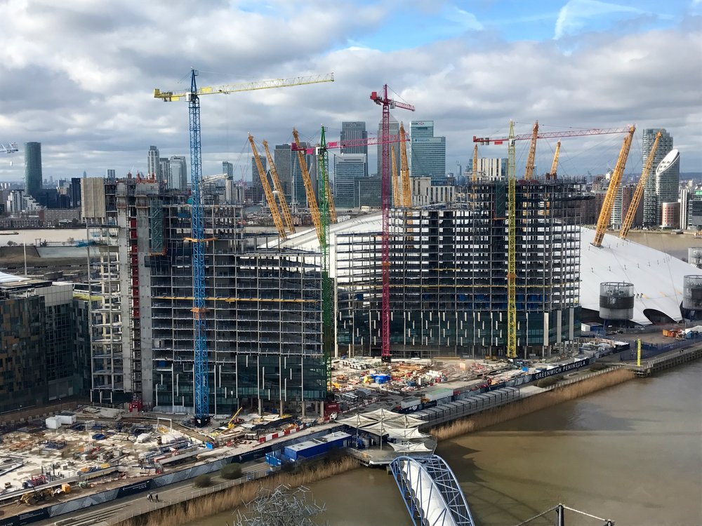 Construction in progress at Upper Riverside, Feb 2017 [greenpen.london]