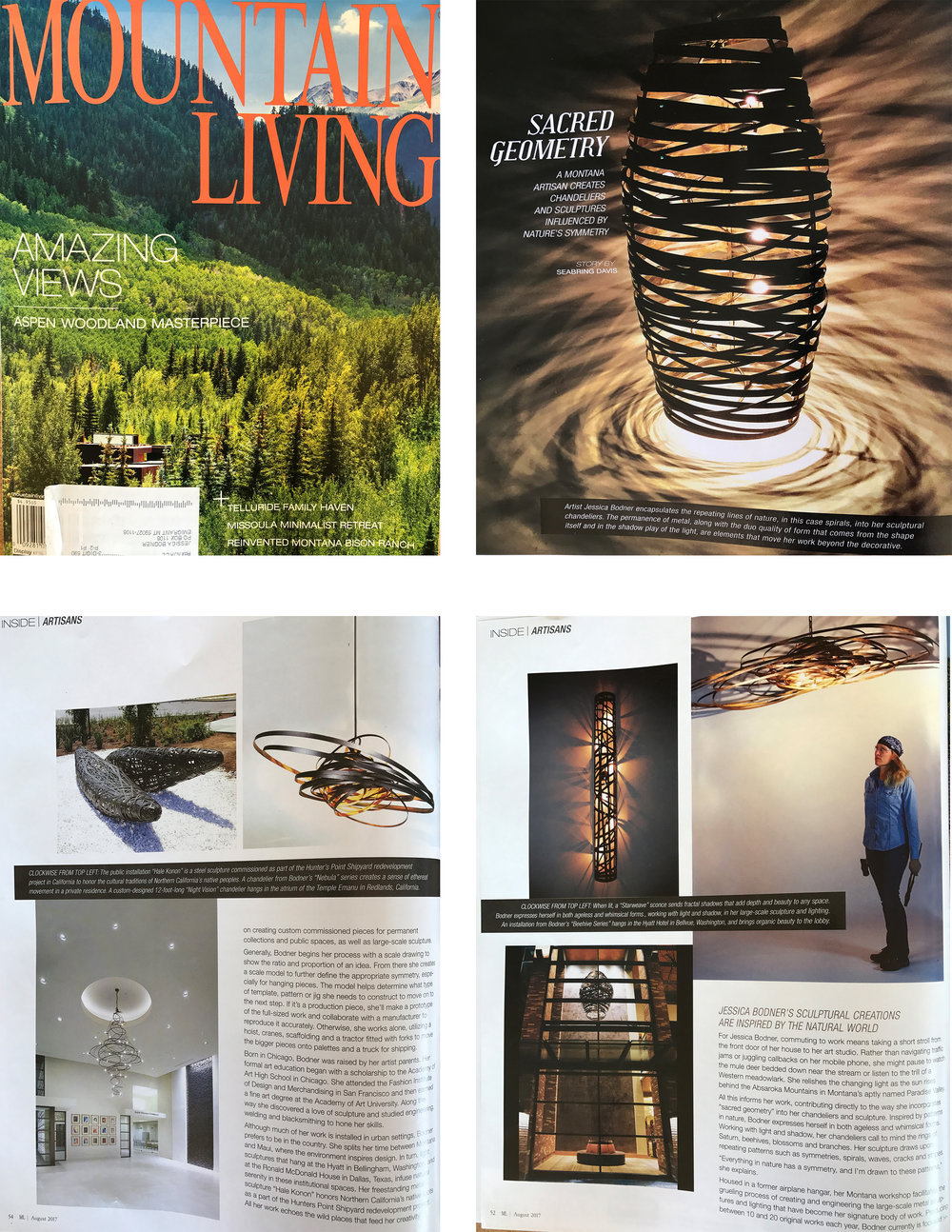 "Mountain Living Magazine, August 2017,""Inside Artisans"" By: Seabring Davis"