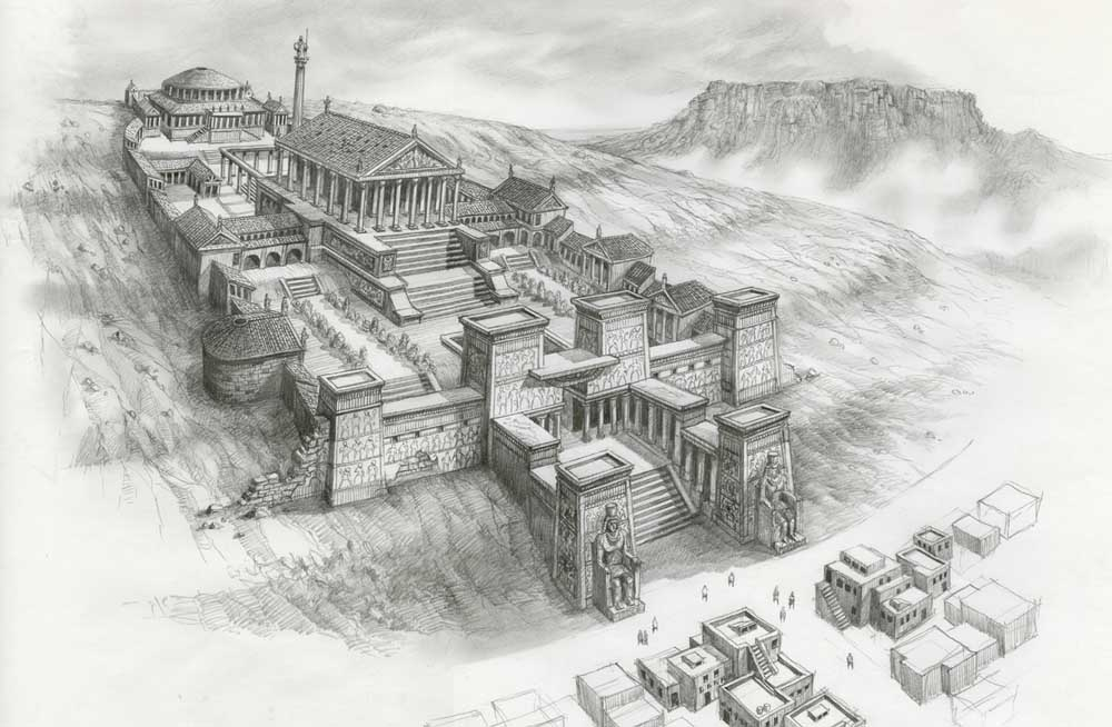 An artist rendition of the Library of Alexandria.