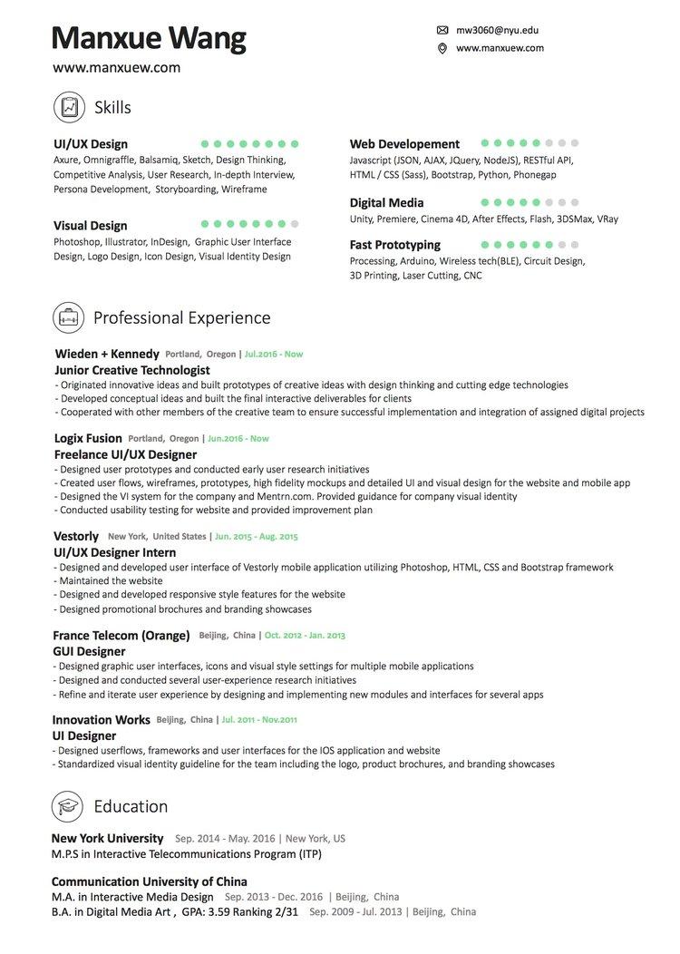resume manxue wang - Gui Designer Resume