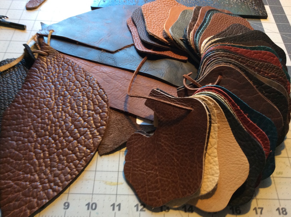 Selections of bison leather from a few different suppliers.