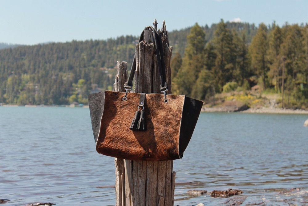 Colter Carryall - made of hair-on-hide and black bison