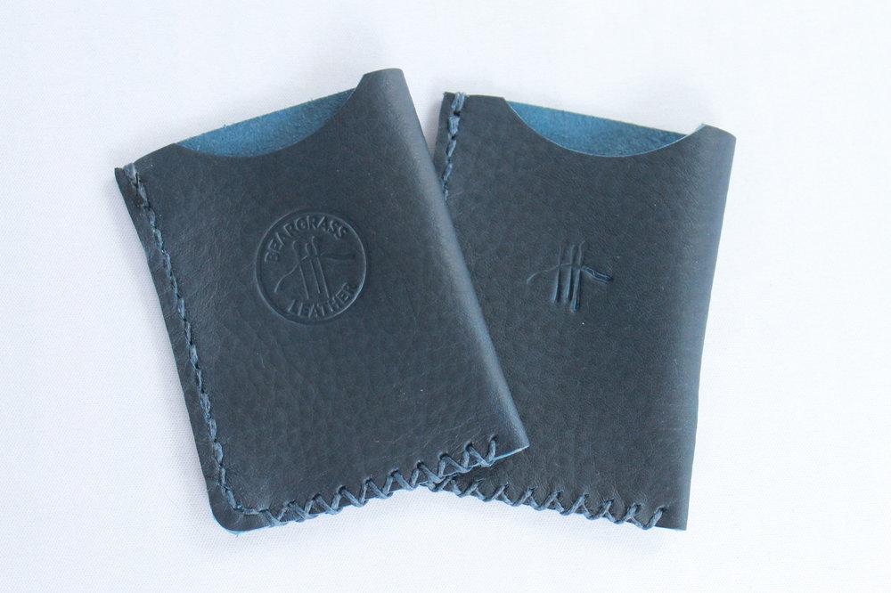 Horween Navy Blue Vegetable Tanned Wallet Handmade 1.jpg