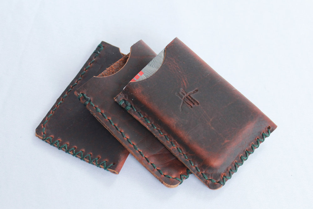 Custom Bespoke Leather Wallet Made in Montana from Bison Leather with Pull-up