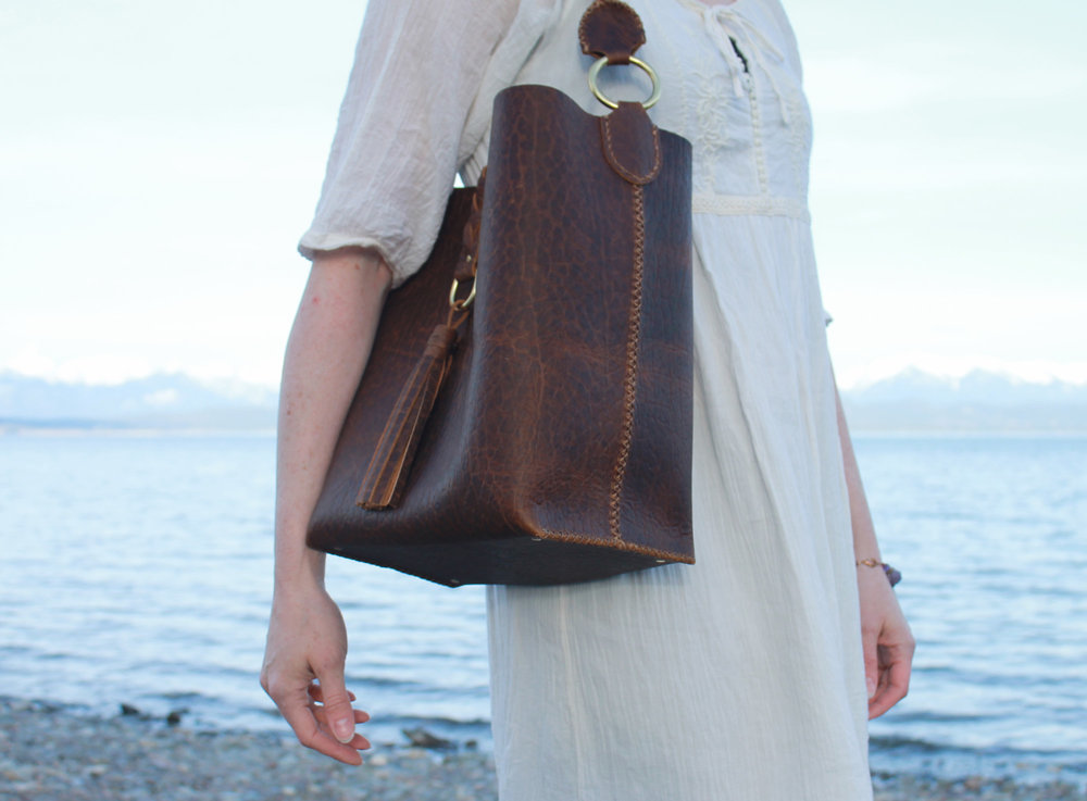 The Florence tote in an amazing pebbled, full-grain, pull-up bison leather.  How's that for a string of adjectives?