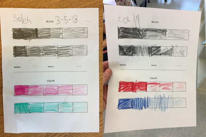 Students color dark to light on the first two scales with their regular pencils, then choose two colors to do two more scales at the bottom.