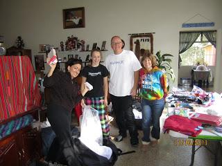 Preparing the gift bags
