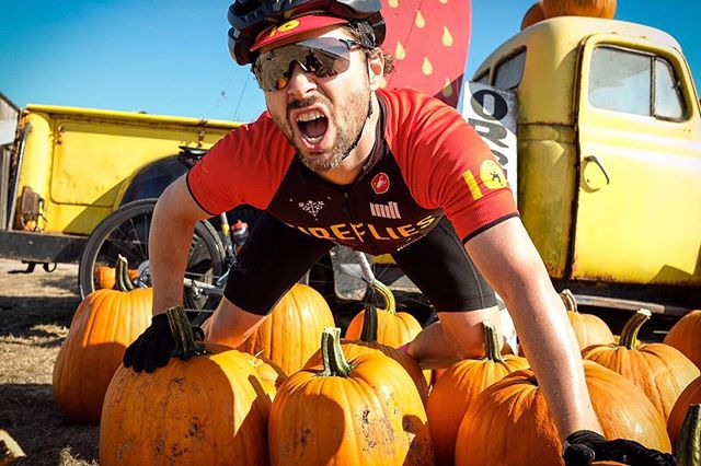 How do you know it's fall? Starbucks has their fall drinks we have @tropicaldanny on a bed of pumpkins 🎃 #fireflieswest #lasuckforcycling  #firefliescc #fall #fallcycling #castelli 📷 @bsewell47