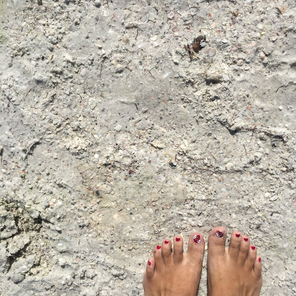 Toes in sugary white sand, enough said? :)