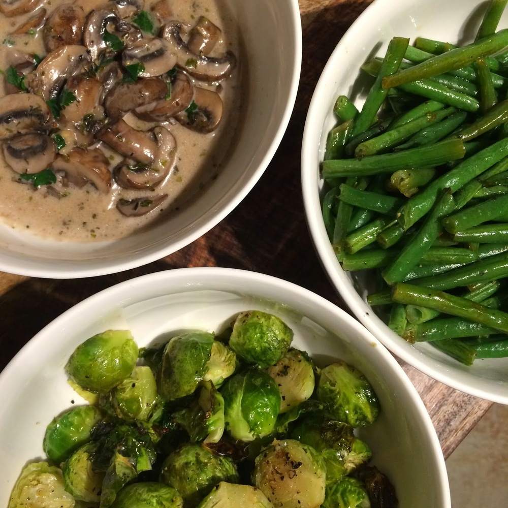 Creamy coconut garlic mushrooms; garlic roasted brussels sprouts & lime-roasted green beans. I made that!