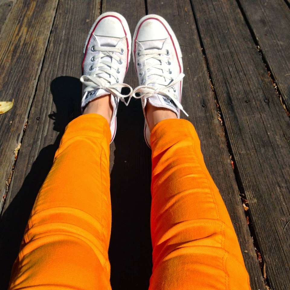 White Converse low-tops, Zara bright orange leggings