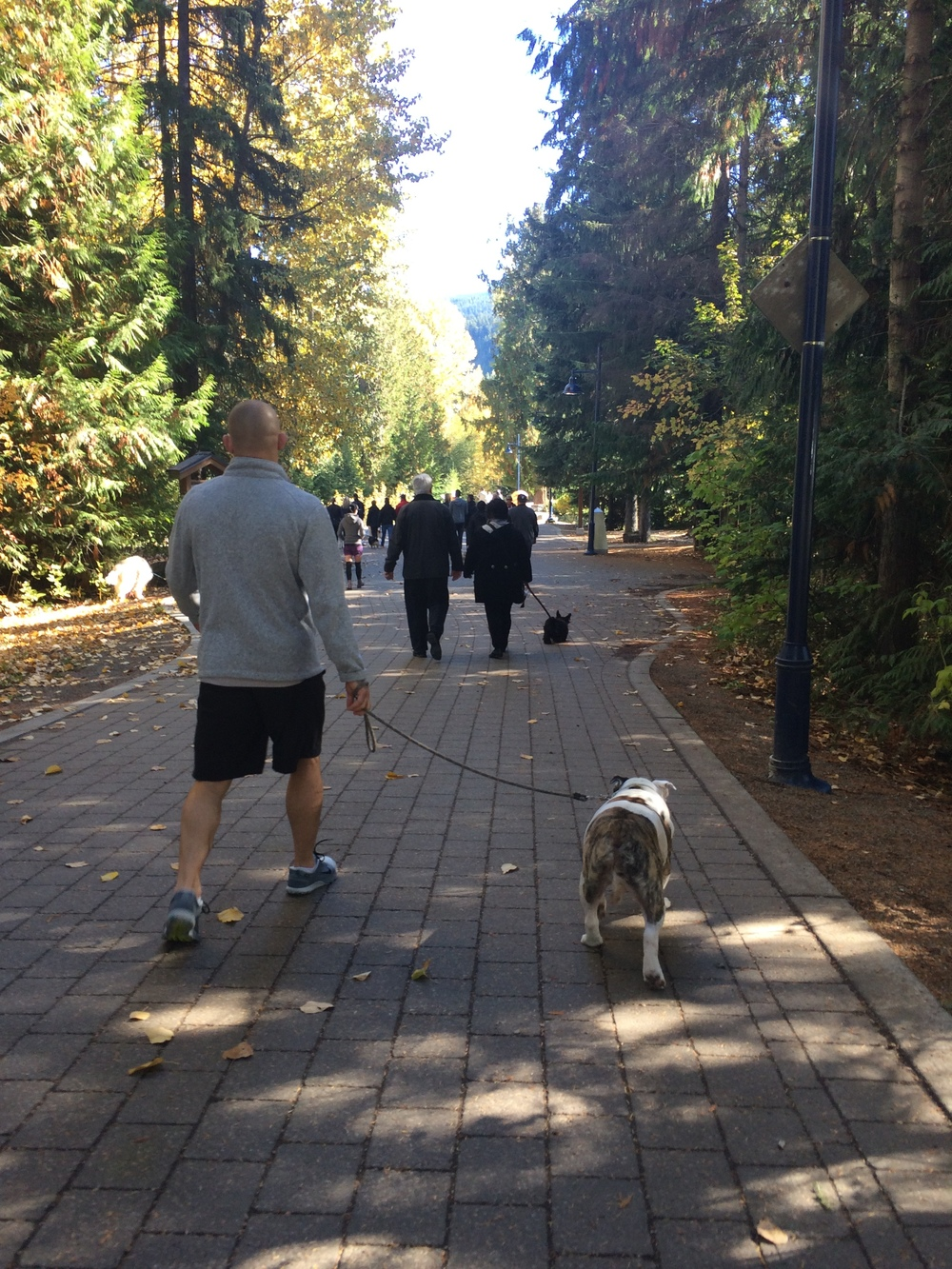 Dad & Spike walking through Whistler Village