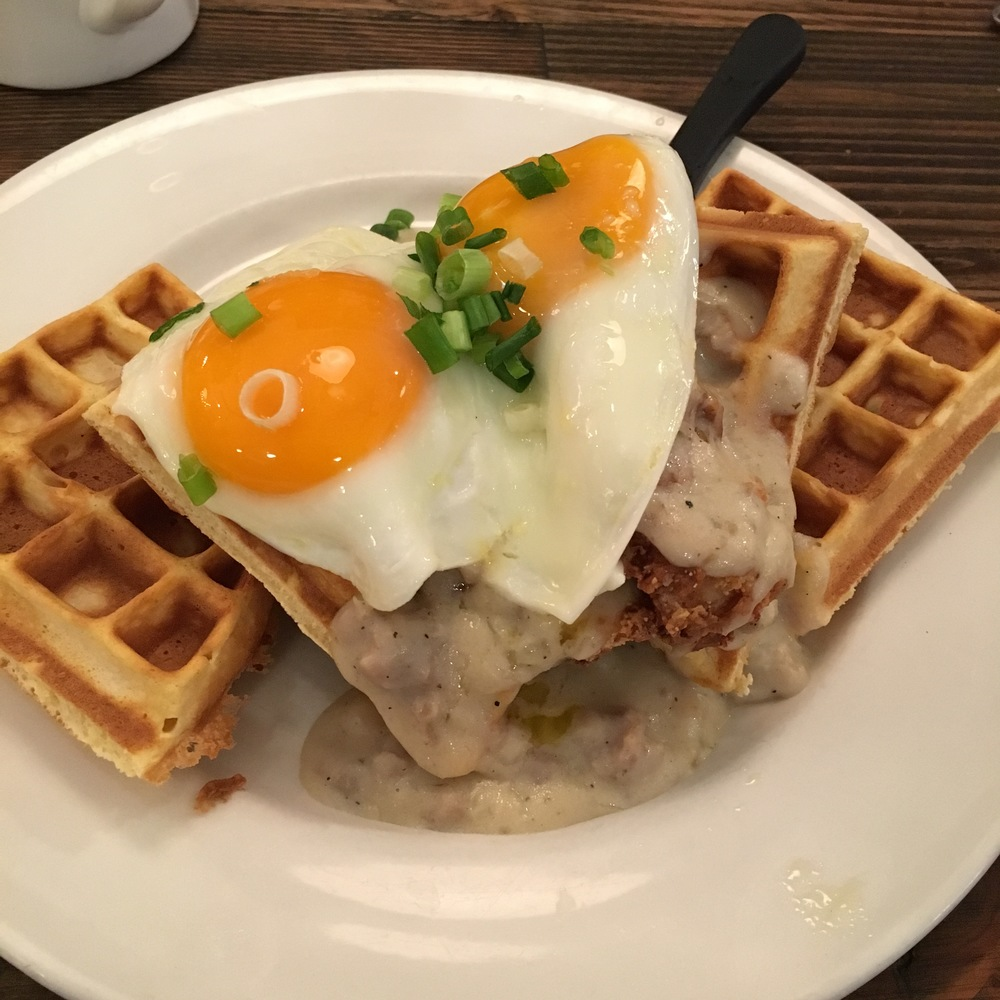 Yummy chicken & waffles at Jam!