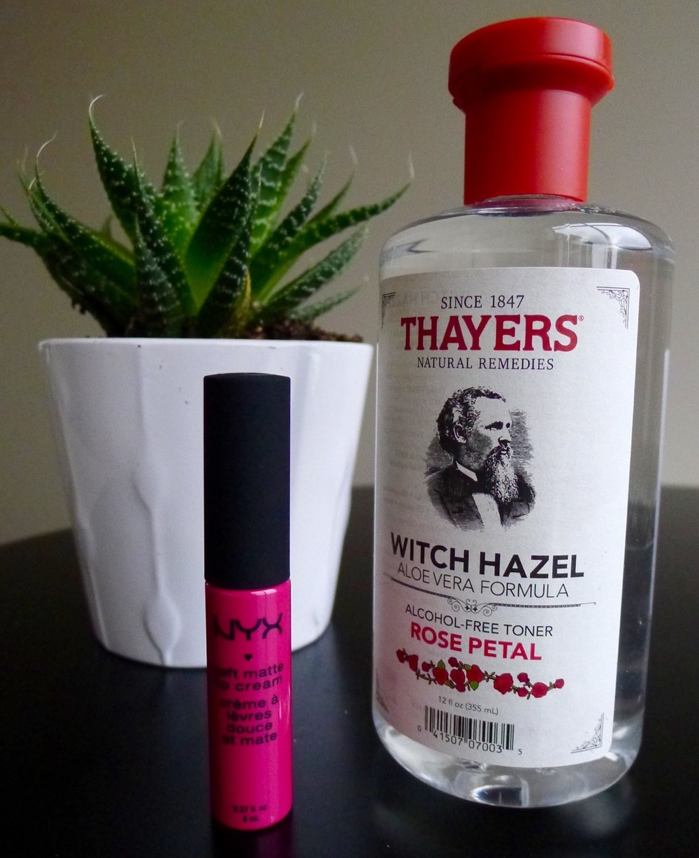 A couple of staples in my beauty & skincare routine - Thayer's Witch Hazel rose toner and NYX soft matte lip cream!
