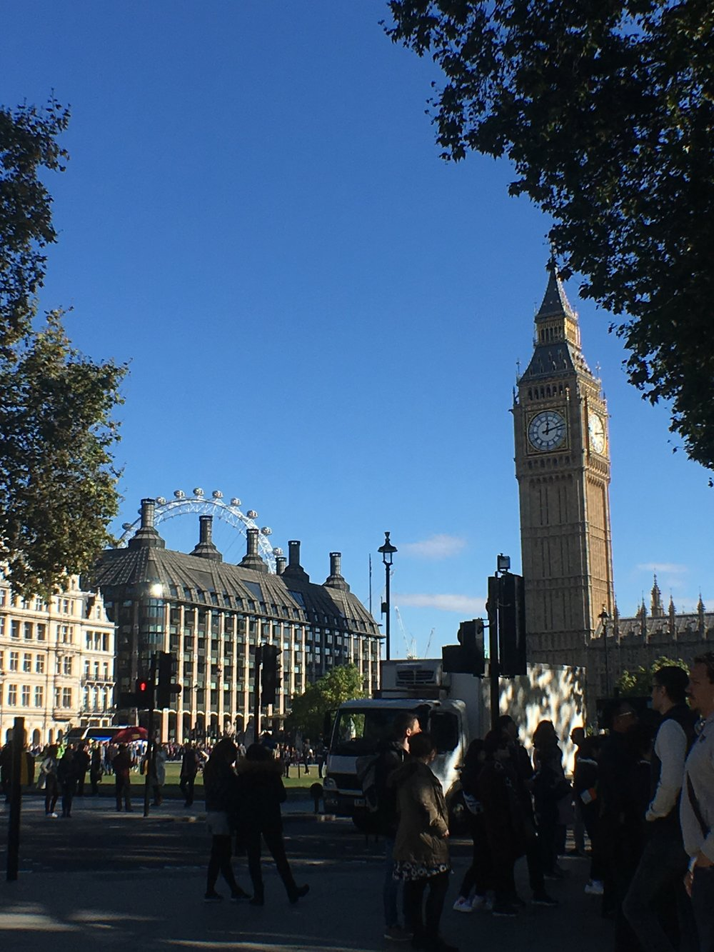 Looking at Big Ben and The London Eye from Westminster Abbey