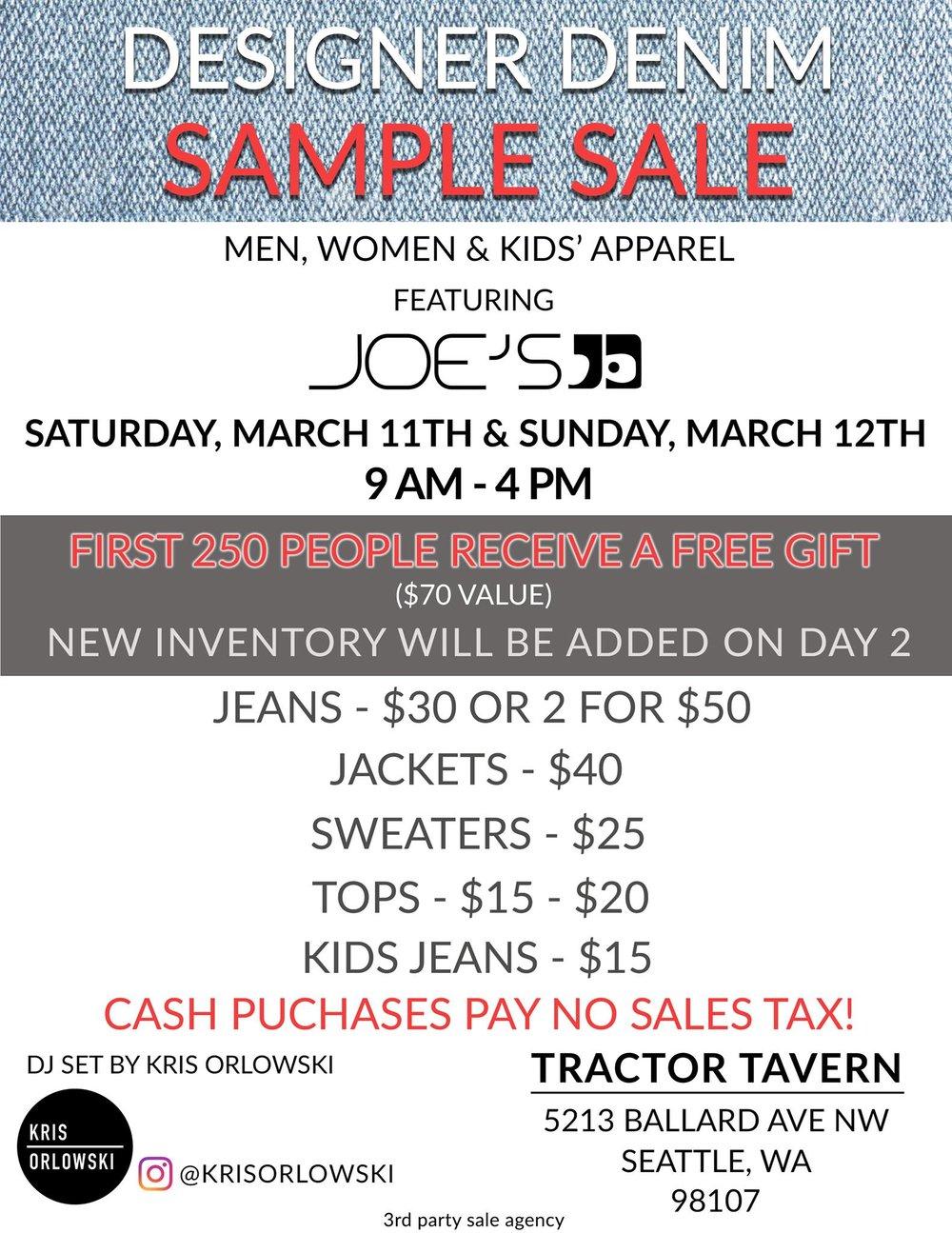 Joes Jeans Sample Sale Seattle