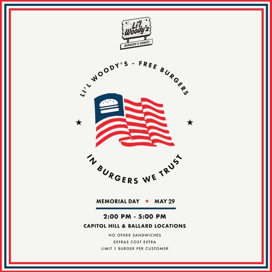 Lil Woodys Memorial Day Free Burgers 2017