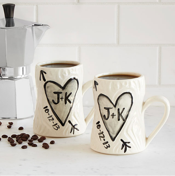 Personalized Porcelain Faux Bois Mug Set