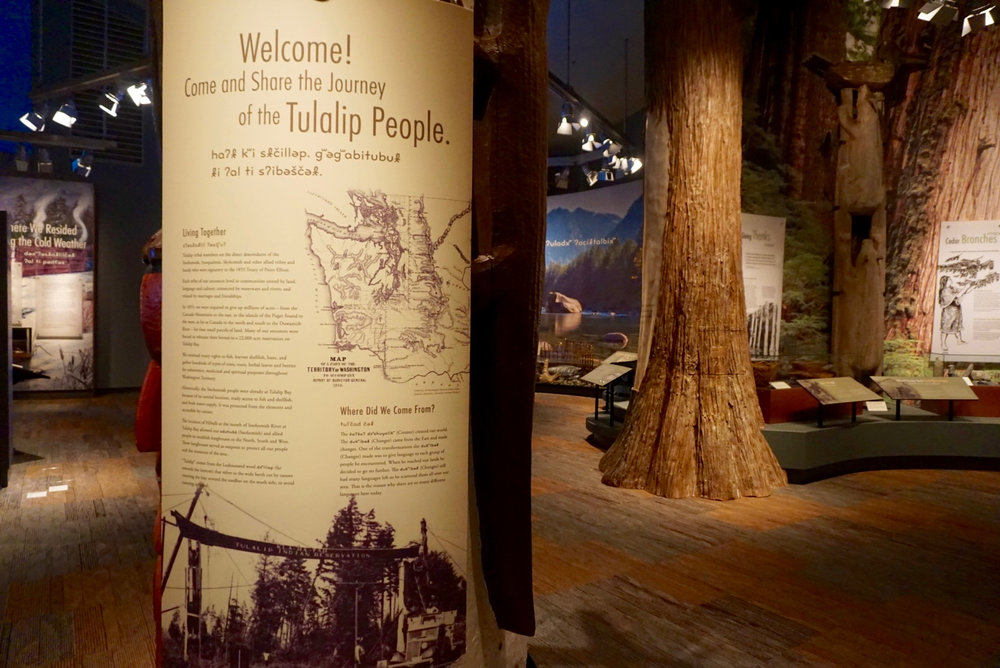 In the main exhibit area, you can learn about the natural resources the Tulalip tribes used and harvested for food, clothing, shelter, and everything in between.