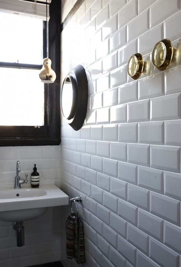 Tom Dixon glass knob in a bathroom - they are bigger than you think!