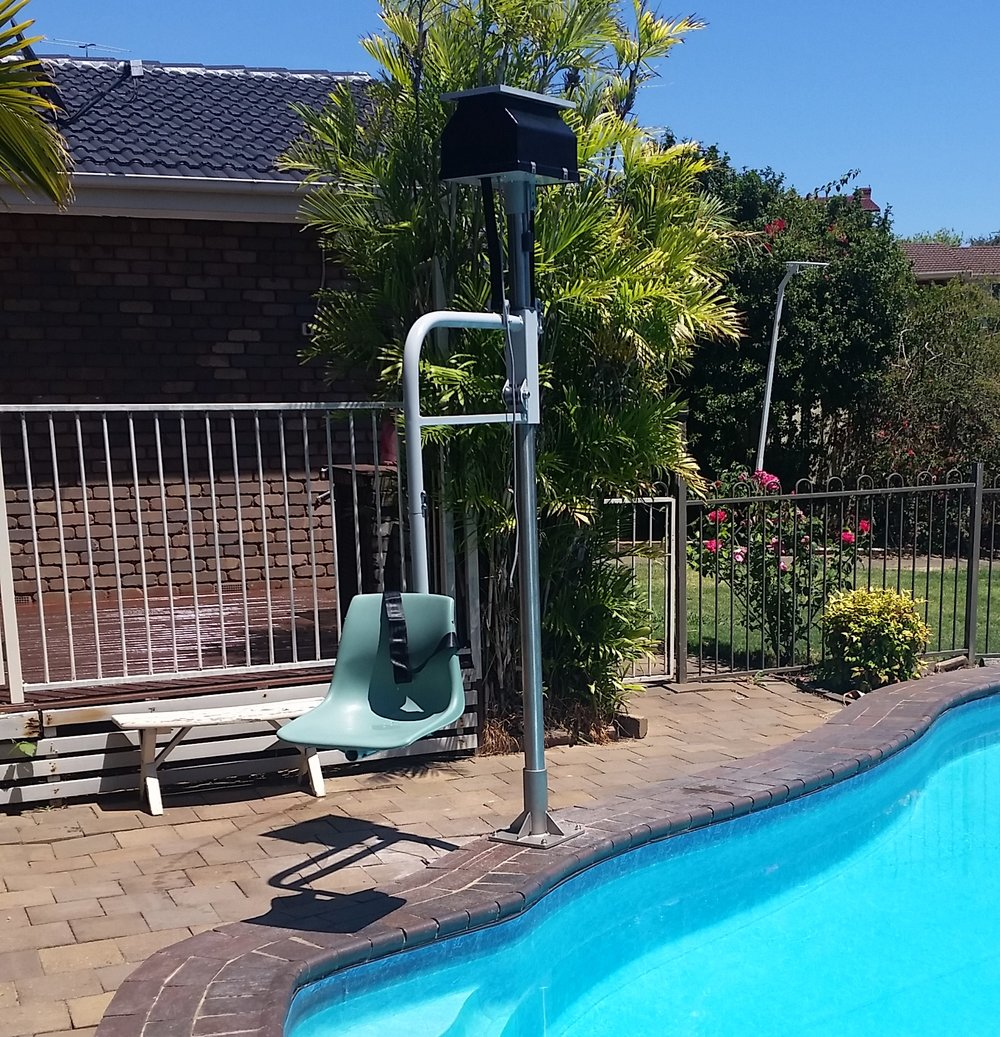 This type of hoist has 10 applications that use the same principal of lifting and lowering a seat carriage.  The Pool Access Hoist is the most popular hoist of its kind and is fully compliant to the building code of Australia.  Concrete fasteners are supplied with all Wymo Patient Hoists.