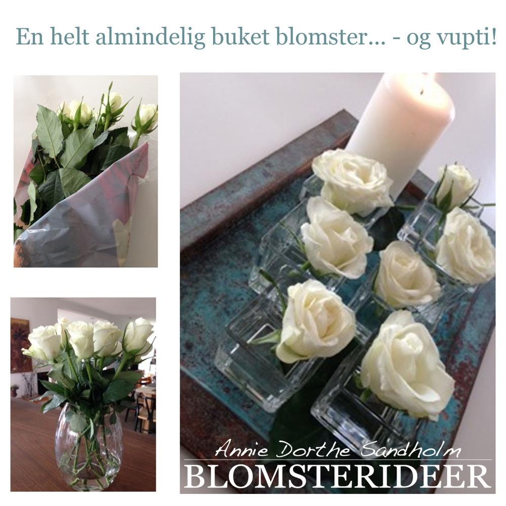 En buket blomster hvid