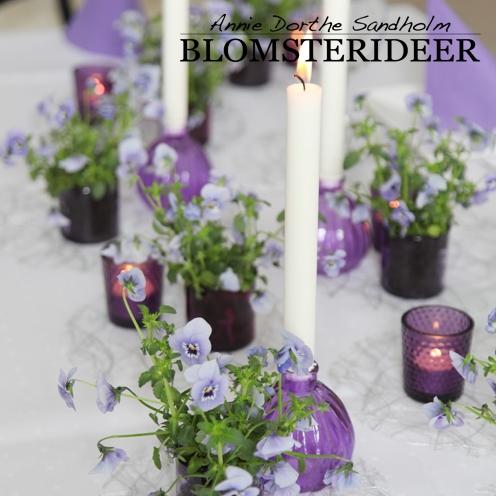 Blomsterinspiration, stedmoderblomster, konfirmation, lilla, forår, blomsterdekorationer