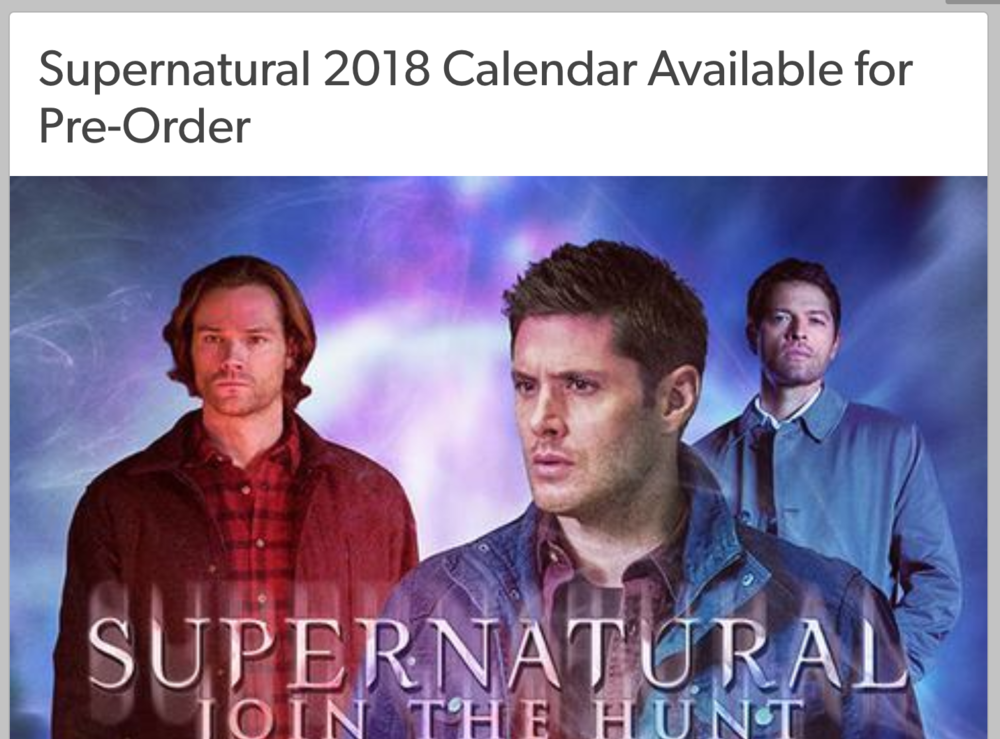 Supernatural 2018 Calendar Available for Pre-Order