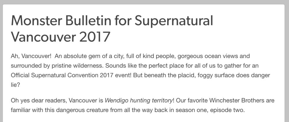 Supernatural Monster Bulletin: Vancouver