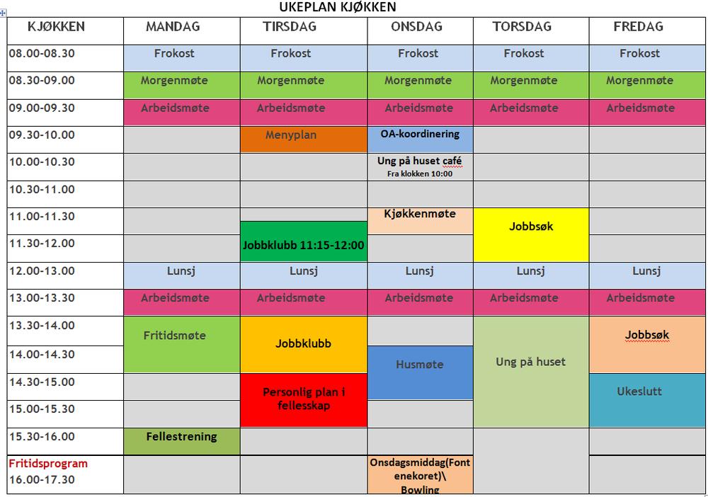 Timeplan kjøkken