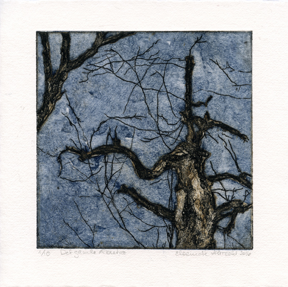 Albrecht Elsemarie: Ye Olde Apple Tree collagraph