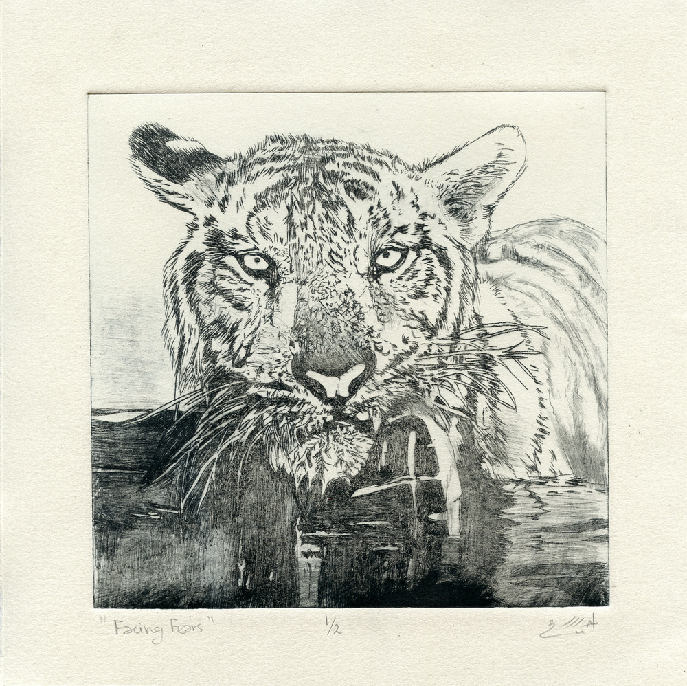 Alarif, Ahlam: Facing Fear drypoint