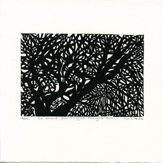 Ernst, Sue: Go Beyond Your Tangled Thoughts Rumi linocut