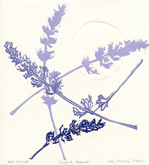 Gracin, Martina: English Lavender linocut