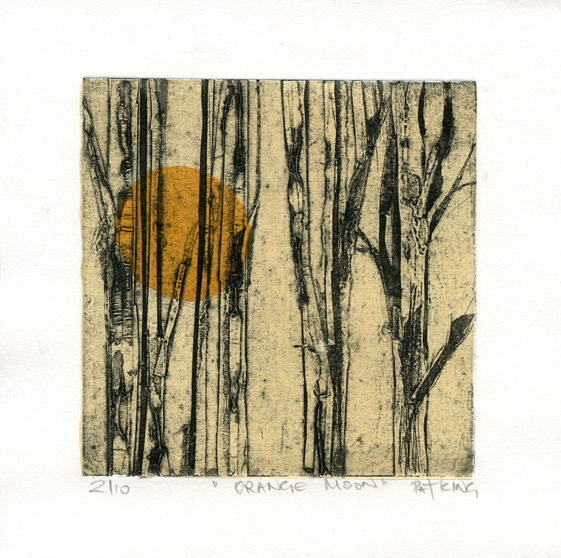 King, Pat: Orange Moon collagraph