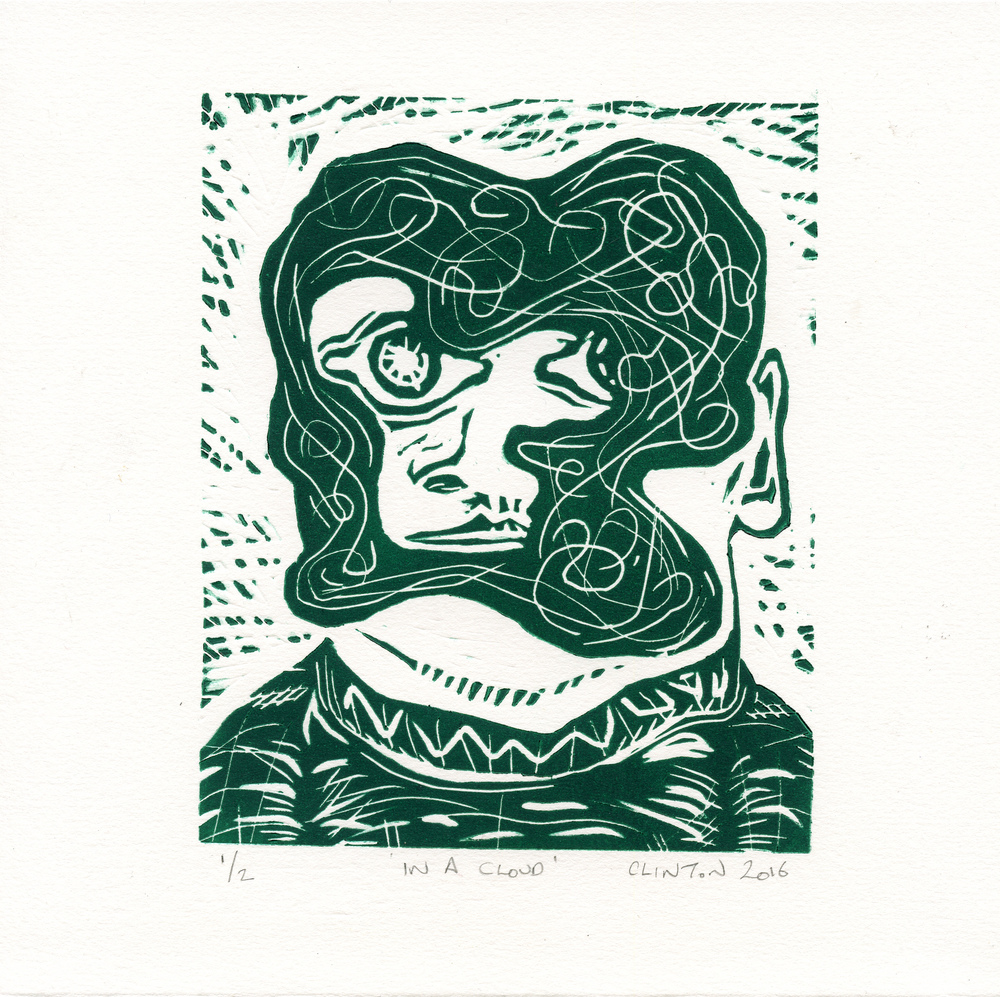 Kirkpatrick, Clinton In a Cloud linocut