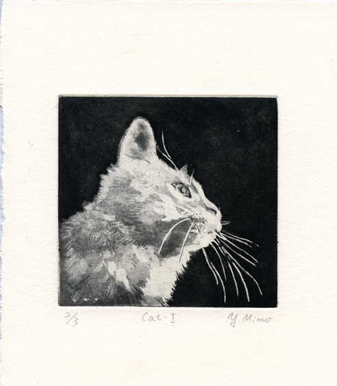 Mino, Yoshiko: Cat I etching aquatint