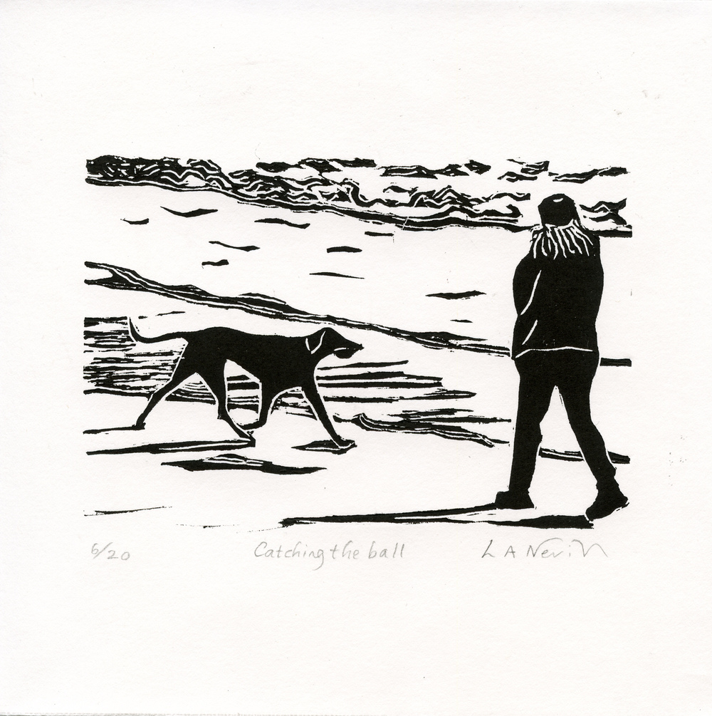 Neville, Linda: Catching the Ball linocut