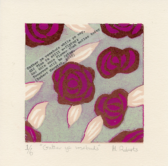 Roberts, Helen: Gather Ye Rosebuds woodcut