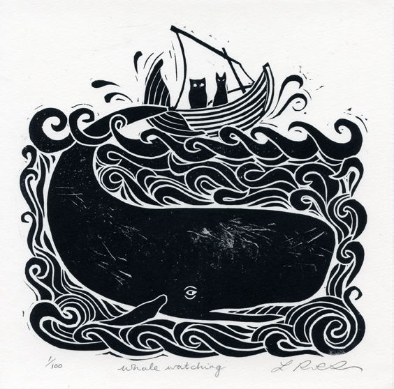 Robertson, Laura: Whale Watching linocut