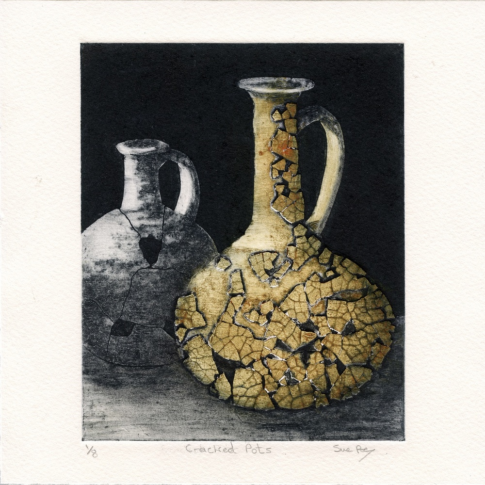 Roe, Sue: Cracked Pots collagraph