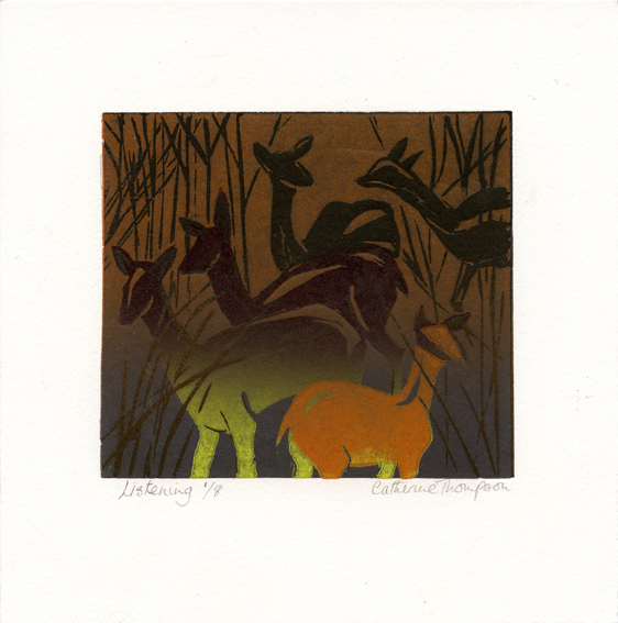 Thompson, Catherine: Listening linocut
