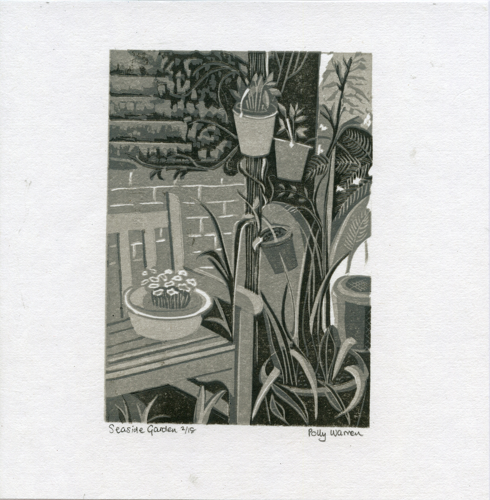 Warren, Polly - Seaside garden - Linocut