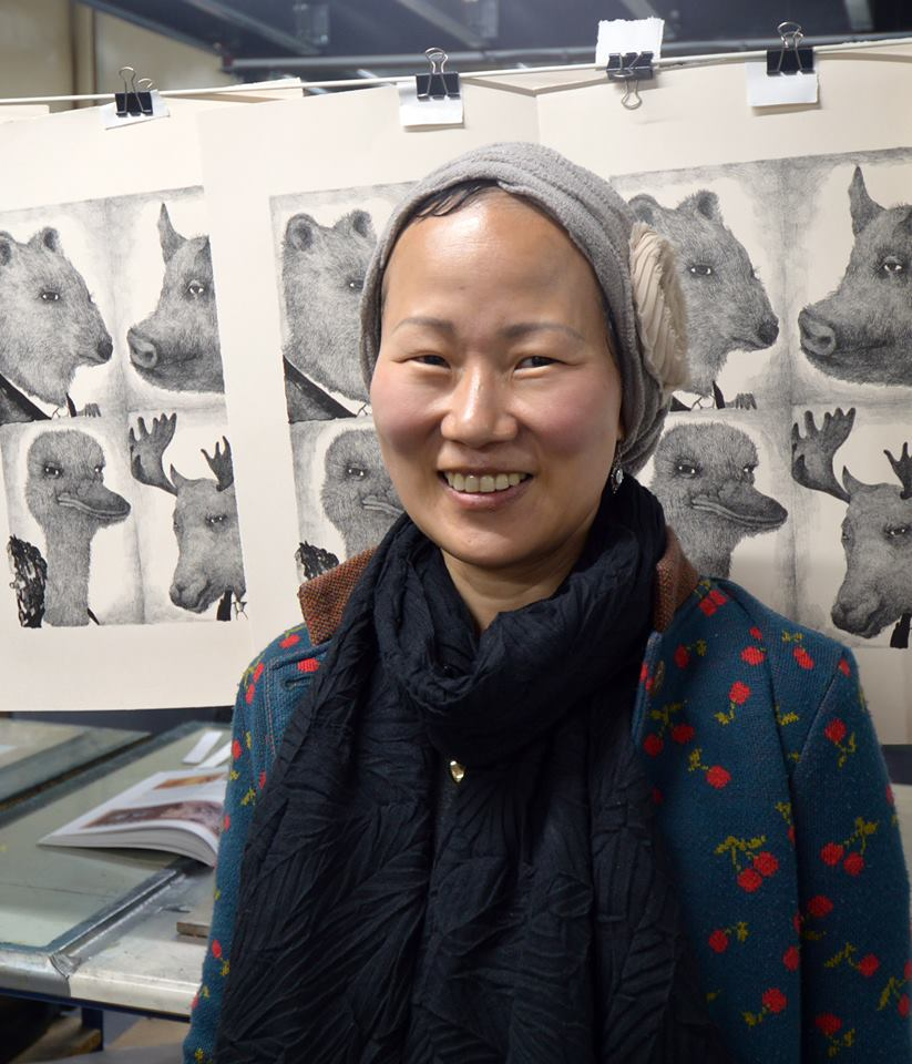 Printmaker EunKang Koh visited Seacourt in July 2017