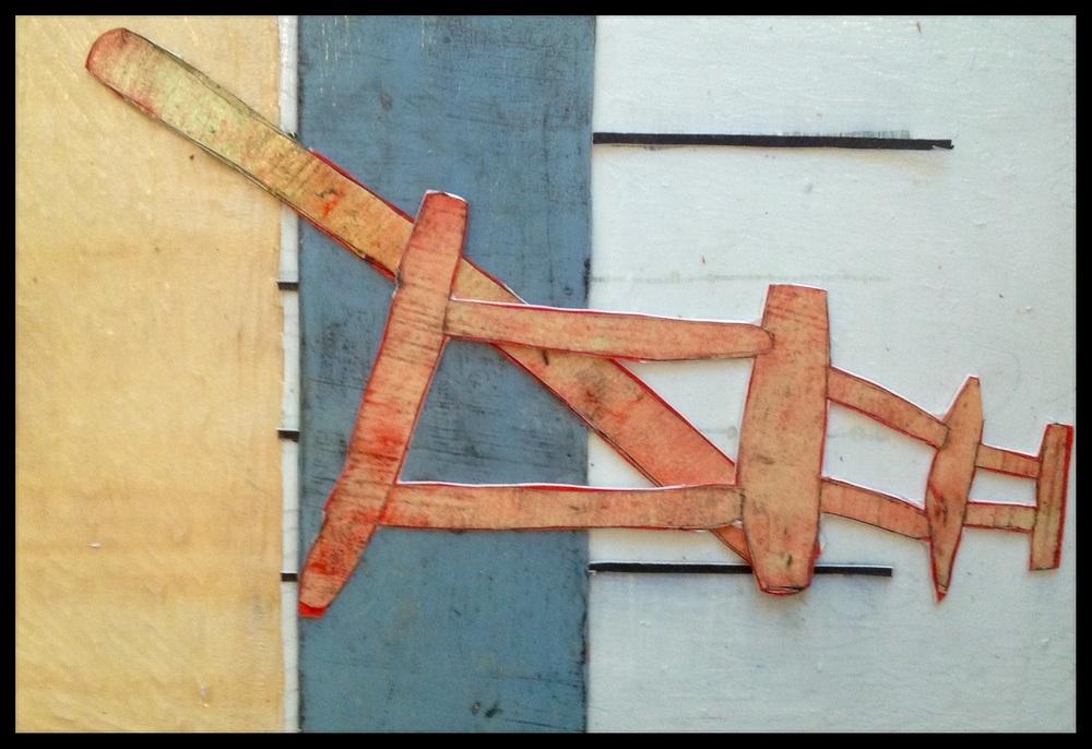 Dit paneeltje is opgebouwd uit hout in combinatie met door drukinkt en verf bewerkt karton.Verschillende reliefopbouwingen dus.  Afmeting;30x40cm  dit werk is nog in de collectie in mijn galerie aanwezig.
