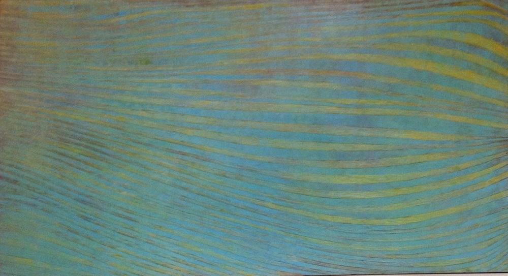 Houten Paneel 100x200cm.  dit paneel is met de hand uitgegutst en en uit verschillende kleurlagen opgebouwd.  Dit werk is verkocht.