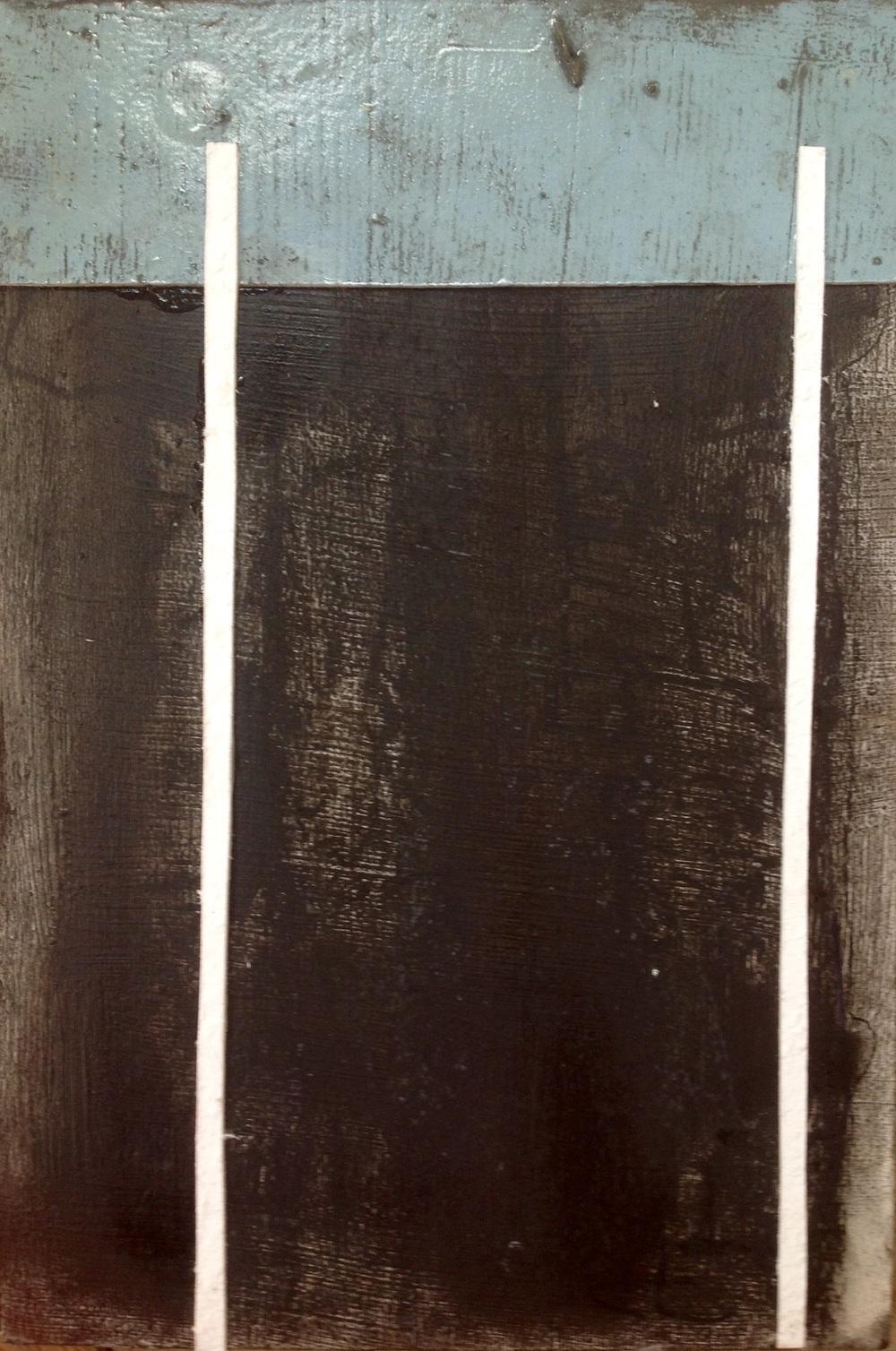 Werk;zonder titel  20x30cm  gemengde technieken,hout ,karton,drukinkt en pastelkrijt