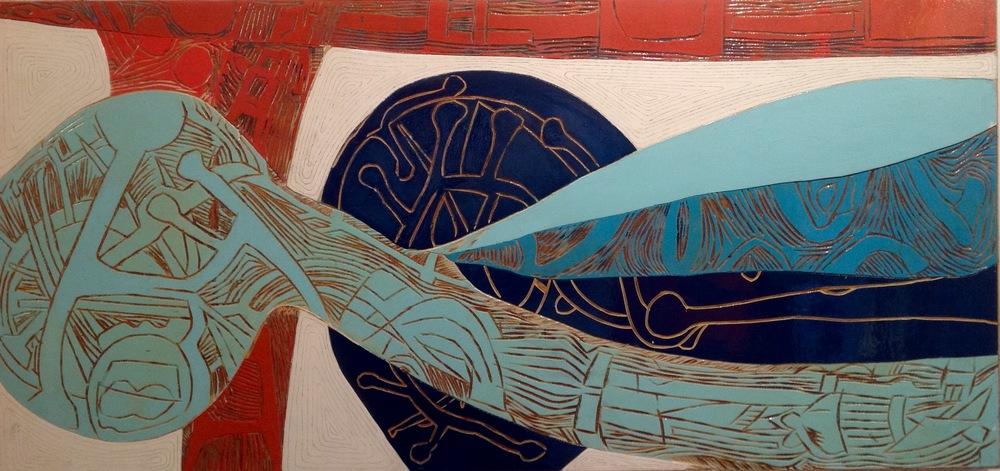 Compositie van uitgezaagd en met houten pinnen verbonden stukken.elk deel is afzonderlijk bewerkt en samengebracht.  afmeting 170x81